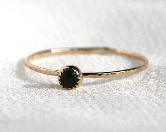 Select a Stone - Tiny Birthstone Cabochon 3mm Stack Ring - Solid 14k Gold - Serrated Bezel and Hammered Band - Simple Delicate Dainty Thread