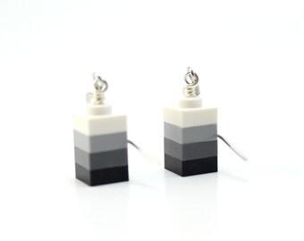 Black Ombre Earrings made from New LEGO (r) Pieces, Smoky Ombre Block Earrings, Geometric Earrings