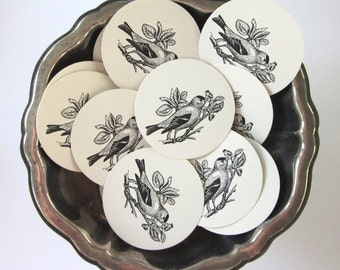 Goldfinch Bird Tags Round Paper Gift Tags Set of 10