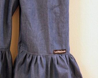 "Girls Ruffle Pants- Denim - Made from Viola Lee Pattern ""Emma Lee"""