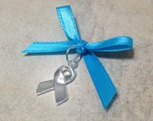 SALE Something Blue Bouquet Charm - Silver Support Ribbon with Blue Ribbon