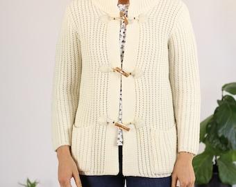 Cream Knit Toggle Cardigan Sweater - Medium