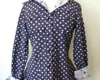 Vintage Top 60s Blue Dot Blouse with constrasting cuffs L - on sale