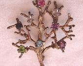 Vintage Sterling Brooch Rhinestone Tree of Life Curtis