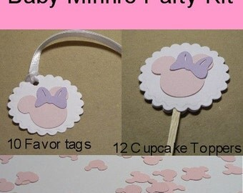Baby Minnie Mouse Birthday Party Package, Customizable, Cupcake Toppers, Favor Tags, Confetti