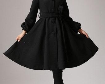 black coat, wool jacket, shawl collar,womens coats,winter jacket, long wool coat, dress coat, ladies clothing, Custom made, mod clothing 753