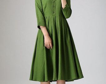 Green linen dress woman knee length dress casual  long dress (891)