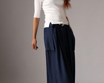 Blue skirt maxi skirt linen long skirt women skirt (1036)