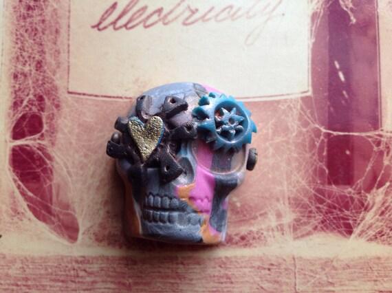 Dia de Los Muertos, Day of the Dead Skull, Steampunk Ornament or Magnet