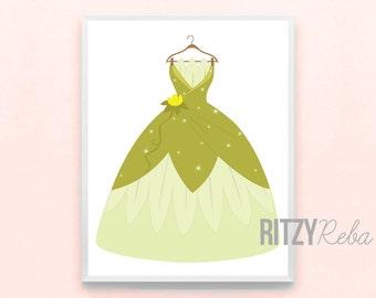 Disney Inspired Nursery Princess Tiana and the Frog Dress Print - Minimalist Pixar Nursery Art, Kid's Playroom, Girls Childrens Art Drawing
