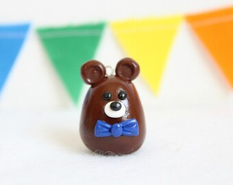 Miniature Bear Christmas Ornament, Polymer Clay Ornament