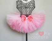 Coral and Peach Tutu with Rosette Crystal Bow - Luxe Collection