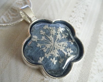 Queen Anne's Lace Beneath Glass Atop Dusty Stardust Blue Background Flower Shaped Pendant-Nature's Art-Symbolizes Peace-Gifts Under 30