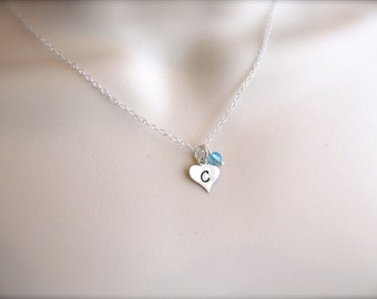 Initial Heart Necklace - Silver Heart Necklace - Initial Necklace - Personalized Birthstone Necklace - Little Girl Jewelry - Sterling Silver