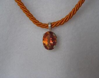 Twilight Mystic Topaz Pendant on Orange Cord