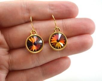 Volcano Earrings Yellow Gold Dangle Earrings Crystal Circle Earrings Swarovski Modern Minimalist Multi Color Orange Red