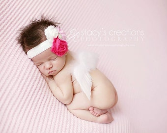 Shabby Flower rosette Headband. You choose from the 3 color options. Great with our wings or photography prop