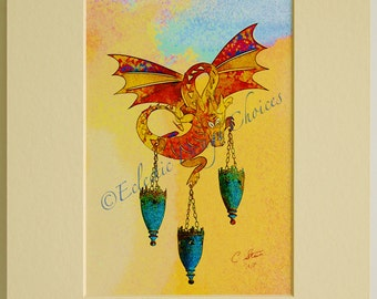 Pop Art Dragon Print, Plundering Flying Dragon Psychedelic Photographic Art Print, Matted Dragon Art - Choice of Mat Colors