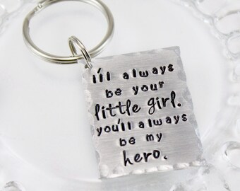 Father of the Bride - Father's Day keychain - Little Girl Hero Keyring - Gift for Dad - Gift for Father - tagyoureitjewelry - Bridal Gift