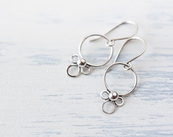 Tiny Dainty Silver Earrings, Small silver hoop earrings, sterling silver, Short unique dangle earrings, simple minimal everyday jewelry