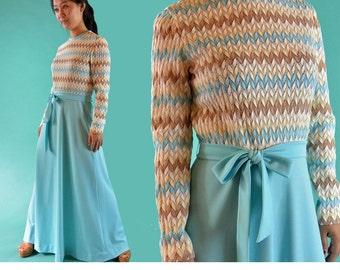 60s Dress Boho Maxi Dress 60s Long Maxi Dress Zig Zag Print High Waist Mod Dress Long Sleeve Sheer Bohemian Party Maxi S / M