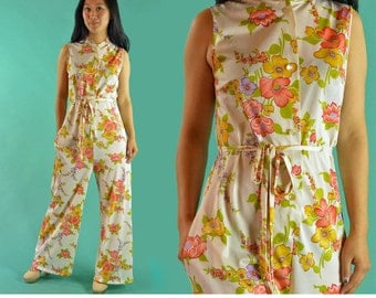 Vintage 60s Jumpsuit One Piece Jumpsuit Hostess Pants Womens Floral Nylon Lounge Wear Sleeveless Bell Bottom Womens Jumpsuit XS / S / M