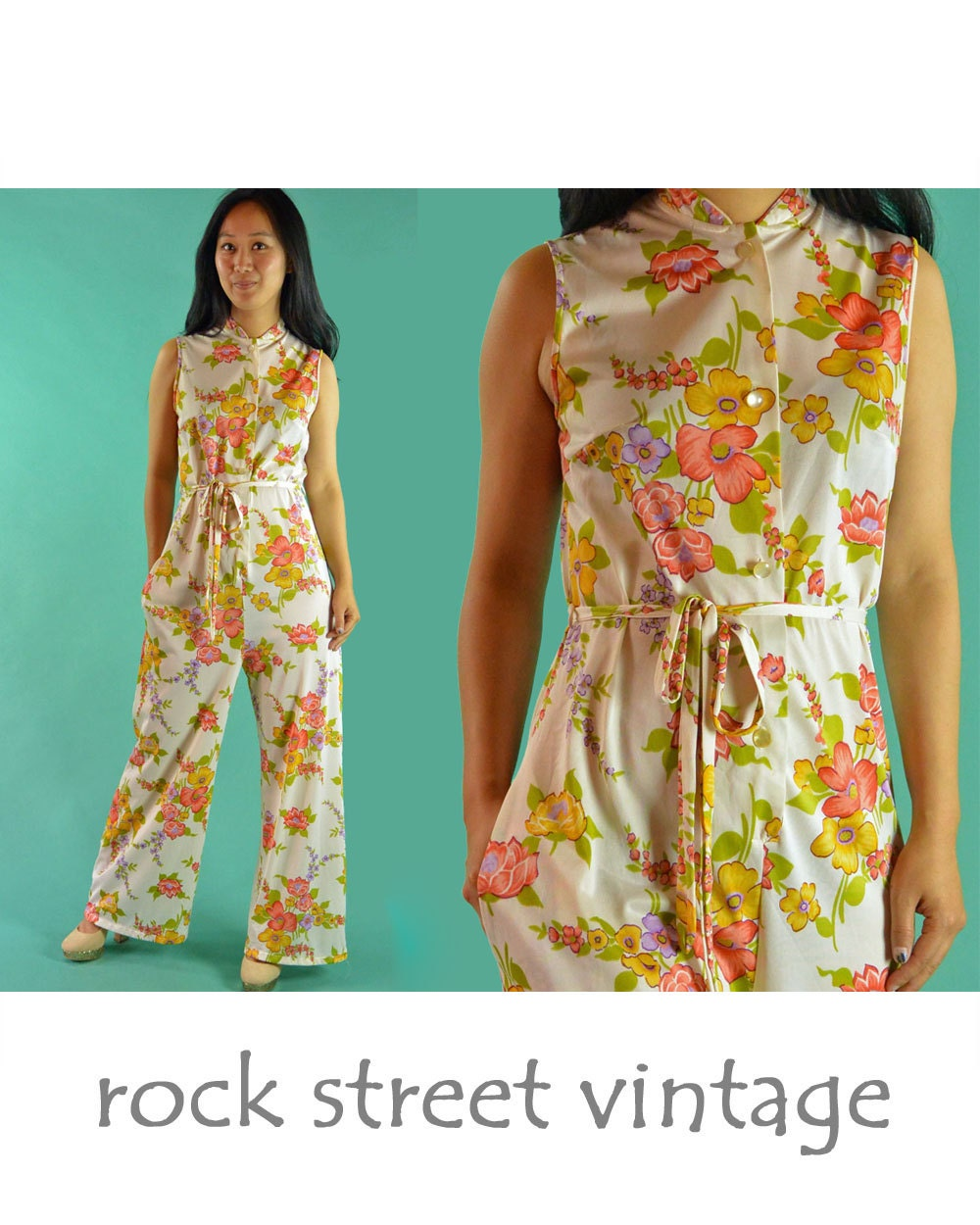 Vintage 60s Jumpsuit One Piece Jumpsuit Hostess Pants Womens