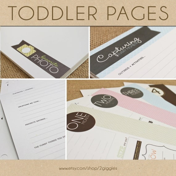 CLEARANCE // Toddler Keepsake Pages - includes 12 months to 5 years (56 designed journaling pages to add to any of our baby albums)