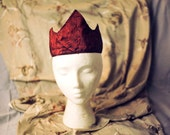 SALE! Red Satin Crimson Embroidered Crown with Sheer Red Lace (ADULT SIZE) Tiara
