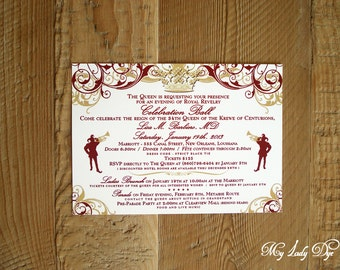 25 Royal Queen Crown Celebration Ball Invitations New Orleans Mardi Gras - Jester, Scrolls, and Queen Crown - By My Lady Dye