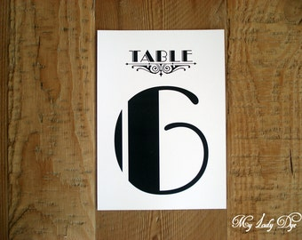 10 Great Gatsby Table Number Cards Art Deco Art Nouveau Table Numbers - The Jacqueline Collection - By My Lady Dye