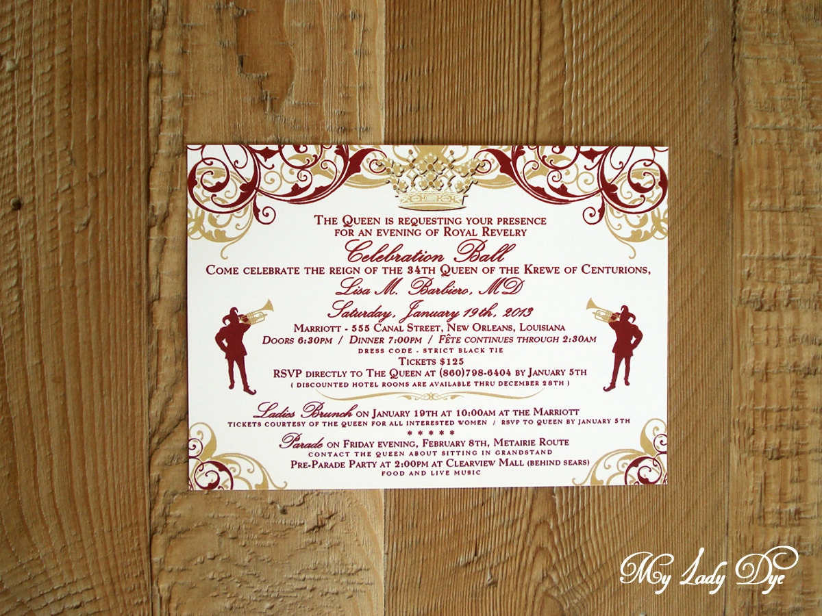25 royal queen crown celebration ball invitations new orleans zoom stopboris Choice Image