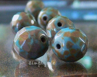 Sky Blue Picasso, Czech Beads, Faceted Fire Polished Glass, 12mm - 6