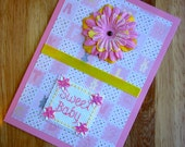 SALE!!  50% Off Original Price!!  Sweet Baby New Baby Girl Handmade Cross Stitch Card Pink and Yellow