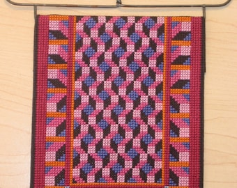 Finished Completed Cross Stitch Amish Quilt Cube Lattice with Heart Hanger