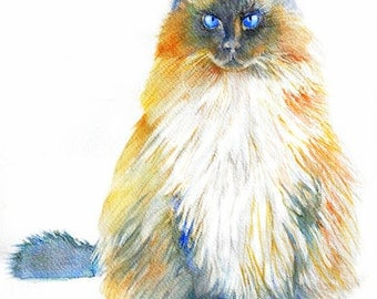 Watercolor Portrait of my Cat, Custom painting, Pet Portrait from original painting, Vio the Wonder Cat, ART