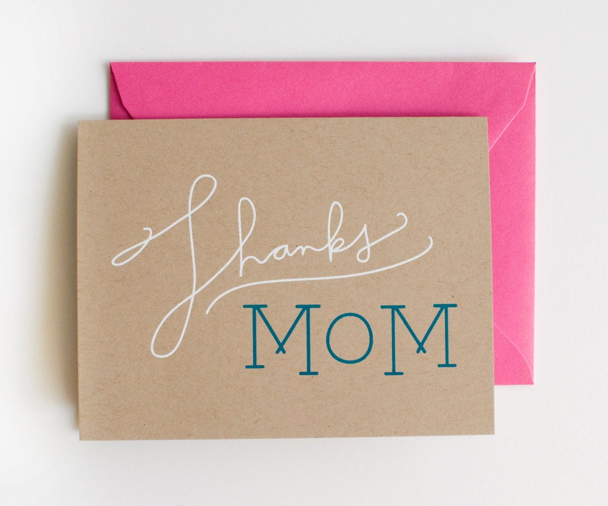 Thanks mom blank card mother s day white on kraft