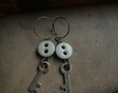 Vintage Porcelain Button and Brass Skeleton Key Earrings - Open and Close