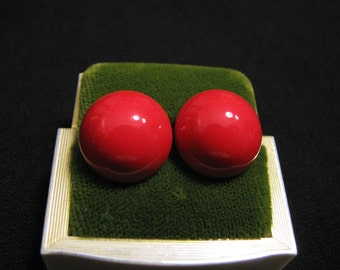 Vintage Small Red Metal Round Puffy Pierced Earrings