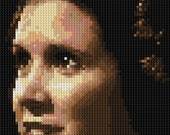 close up Portrait of Princess Leia counted Cross Stitch Pattern - Star Wars Episode 4