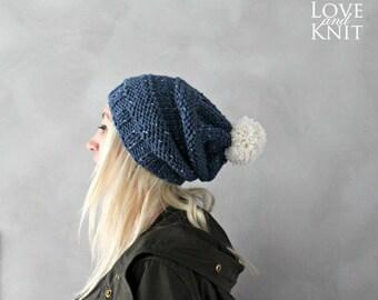 Slouchy Pom Pom Beanie / Chunky Knit Beanie / Beanie for Woman / Gift for Her / Thick Knit / Blue Beanie / Pom Pom Beanie / Slouchy Beanie