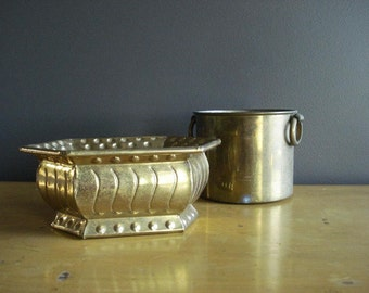 Brass Class Pair - Two Vintage Brass Planters