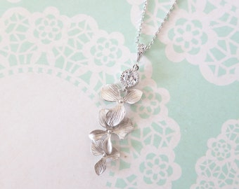 Rosamunde - Silver Orchid Flower Wedding Bridal Necklace, Bridesmaid brides jewelry, Boho Garden weddings , Cubic Zirconia Crystal,
