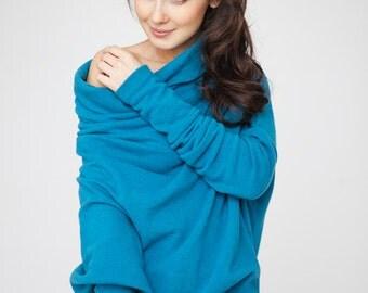 Blue sweater | Maxi sweater | Wide neck sweater | LeMuse blue sweater