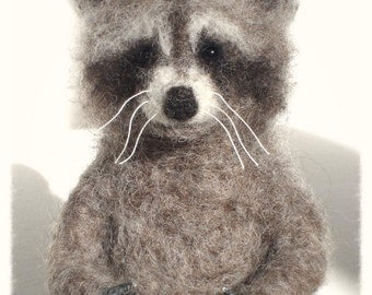 Ooak Needle Felted Little Raccoon