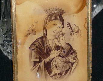 ICONIC MADONNA and CHILD - Religious Art under Glass