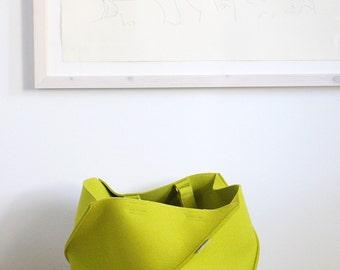 Apple Green Folding Bag / Large Industrial Felt Bag / Tote Bag / Travel Bag / Storage Basket