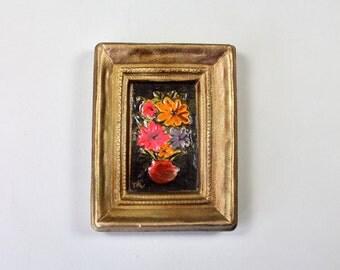 Vintage Small Painting Ceramic Framed, Vase Of Flowers Boho Flowers Embossed Painting Flower Power Signed Painting 1960s 1970s