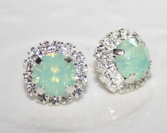 Seafoam ear studs,Mint Green Earrings Silver,Mint Blue Studs,Swarovski®,Mint stud Earrings,Chrysolite Opal Crystal Wedding Bridal Ear Studs