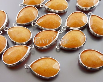 2 apricot color synthetic jade stone in silver bezel frame setting, jewellery supplies  5069R-AP (bright silver, apricot, 2 pieces)
